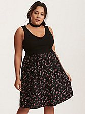 Plus Size Black and Red Floral Print Bar Back Tank Dress,