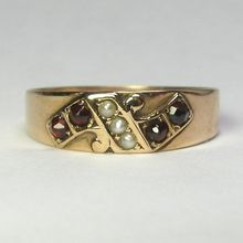 Laura's lifeintheknife on Ruby Lane: Antique Victorian 10K Rose Gold Garnet & Seed Pearl Band/Ring