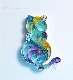 Paper wall Art - The little cat Quilling Paper Wall Art Decor Gift. Neli Quilling, Quilling Images, Paper Quilling Patterns, Quilling Paper Craft, Paper Crafting, Quilling Ideas, Quilling Comb, Quiling Paper Art, Quilling Animals