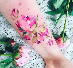 Pis Saro is a tattoo artist from Crimea who specializes in exquisite, realistic botanical tattoos, inspired by specimens that she sees while strolling through gardens and parks during her travels. Her work is remarkably almost identical