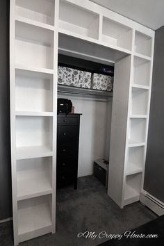 built in bookshelves around a closet, closet, diy, storage ideas, woodworking projects bedroom storage Closet Bedroom, Closet Space, Walk In Closet, Bedroom Decor, Shoe Closet, Master Bedroom, Double Closet, Bed In Closet, Bedroom Storage Furniture