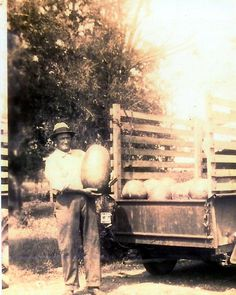 Old family pictures with a story (This is my grandfather who grew watermelons at one time)