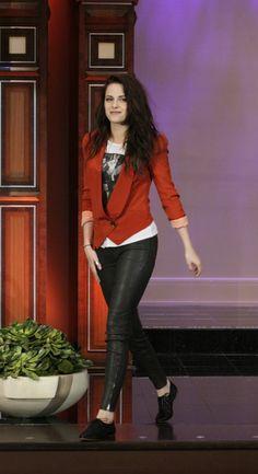 Kristen Stewart in J Brand Leather Leggings