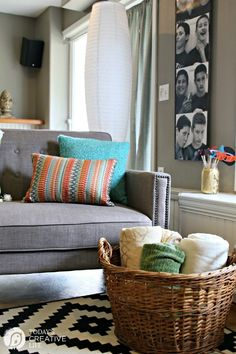 Finished Basement Idea | Teen Hangout | Inexpensive Fold out Sofa Ideas | See more on TodaysCreativeLife.com