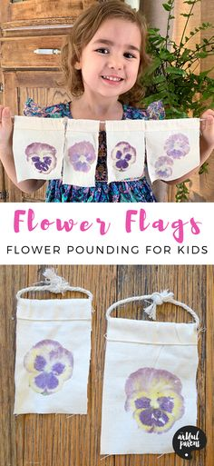 Create These Beautiful Flower Flags With Flower Pounding for Kids Flower flags are an amazing process art activity for kids! Watch as the pigments from the flower transfer onto canvas, creating a beautiful flower wall hanging. Process Art Preschool, Preschool Art Projects, Art Therapy Projects, Art Therapy Activities, Art Activities For Kids, Craft Projects For Kids, Spring Activities, Art For Kids, Kids Crafts