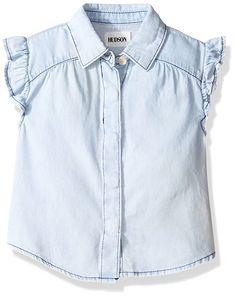 e7d494449900a Hudson Girls  Ruffle Shirt  Chambray tencel fabric shirt with ruffled short  sleeves