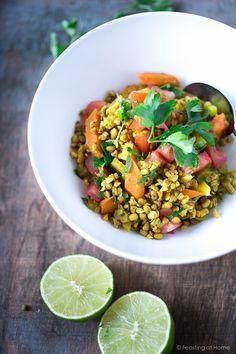 Ayurvedic Detox Bowl ( aka khichari) with mung beans, kashi and detoxing veggies. Vegan, GF | www.feastingathome.com