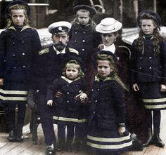 Grand Duchess Olga Nikolaevna, Tsar Nicholas II with Tsarevich Alexei Nikolaevich, Grand Duchess Anastasia Nikolaevna, Alexandra Feodorovna, Grand Duchesses Maria Nikolaevna and Tatiana Nikolaevna.