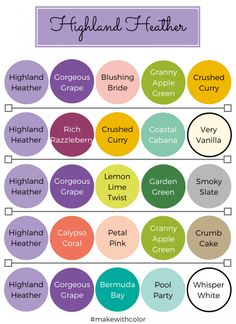 Color of the Week - Highland Heather - Mackenzie Makes Scheme Color, Color Combinations, Color Schemes, Combination Colors, Stampin Up, Color Of The Week, Color Style, Coordinating Colors, Matching Colors