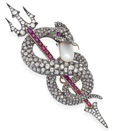A natural pearl, diamond and ruby serpent brooch, circa 1880 The writhing old…