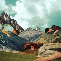 """Chamada de Perpendicular Dreams, a série de colagens digitais do ilustrador francês Julien Pacaud vai além das técnicas de """"copiar e colar"""" na hora de criar, com uma coleção de imagens vintage, um trabalho com os dois pés no surrealismo."""