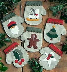Warm Hands Christmas Ornaments - Wool Felt, Felt Appliqué Kit RG/QK0811