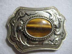 Vintage 1970s TIGER EYE STONE Western & Cowboy Fashion Belt Buckle