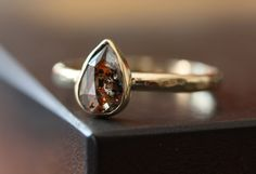 One of a Kind Red Pear Rose Cut Diamond Stacking Ring in 14kt Gold by Alexis Russell