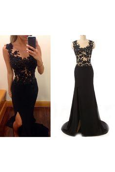 Tidetell.com Modern Scoop Mermaid Floor Length Chiffon Lace Black Prom Dress With Split