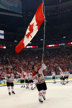 Sidney Crosby's victory lap after scoring the winning goal in the Men's Hockey Final in the 2010 Vancouver Winter Olympics. Click the pin to see more of hockey's iconic moments.