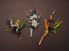 LOTR Lord of the Rings themed Wedding boutonniere set: Autumn in Lothlorien, Star of Elendil, Longbottom Leaf, elven fantasy crystal leather. $100.00, via Etsy.