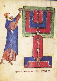 Aaron lighting the menorah, from the North French Miscellany, a medieval Hebrew manuscript at the British Library, fol. 114r