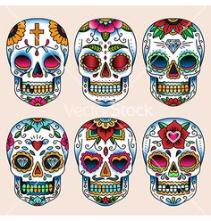 Illustration about Set of tattoo art skulls in mexican style for design and decoration. Illustration of white, design, skeleton - 43541627 Skull Girl Tattoo, Sugar Skull Tattoos, Sugar Skull Art, Tattoo Art, Calaveras Mexicanas Tattoo, Tattoo Crane, Calavera Tattoo, Art Deco Wallpaper, Skull Illustration