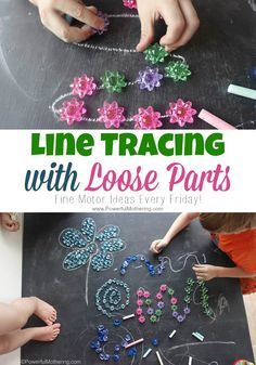 Line Tracing with Loose Parts - creative play with fine motor skills for older toddlers and preschoolers. (also works great with paper)!