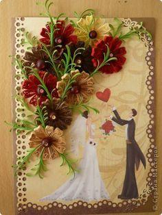 Открытка Квиллинг: Мои любимые космеи!!! Бумажные полосы Свадьба. Фото 1