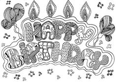 Happy Birthday card coloring page printable doodle zentangle draw adult kids craft cake birthday party invitation relax meditazion fun