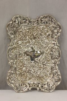 Fancy English antique repose sterling silver tray decorated with Cherubs