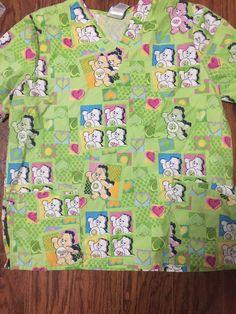 fd7fb4f5525 Care Bears Scrub Top Size large Green Scrubs Shirt Pockets Nurse has spot  SEE #fashion