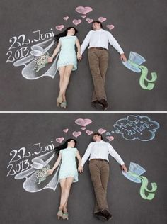 Fun Chalk Mural Forced Perspective Save the Date Photo