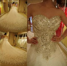 Customized High Quality Luxury Exquisite Sweetheart Lace-up Beading Cathedral Train A-Line Wedding Dress Romantic Bride Dresses women gowns