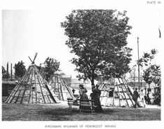 Birchbark wigwams of Penobscot Indians at the World's Columbian Exposition (also known as the Chicago World's Fair), Daniel Burnham Daniel Burnham, World's Columbian Exposition, New York Buildings, Victoria House, Agricultural Buildings, German Village, Palace Of Fine Arts, Mechanical Art, Native American Tribes