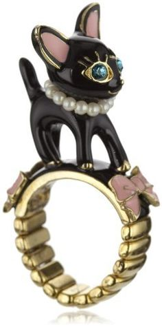 "Betsey Johnson ""Betsey's Dollhouse"" Black Cat Stretch Ring, Size 7 Betsey Johnson, http://www.amazon.com"