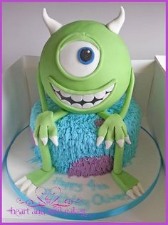 Mike Monsters Inc Cake for TJ's bday Monster University Cakes, Monster Inc Cakes, Crazy Cakes, Fancy Cakes, Cute Cakes, Monster Inc Party, Monster Birthday Parties, Childrens Cupcakes, Soul Cake