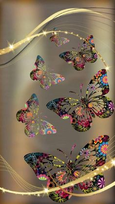 Gold and Colorful Butterfly Wallpaper Beautiful Nature Wallpaper, Colorful Wallpaper, Flower Wallpaper, Screen Wallpaper, Mobile Wallpaper, Wallpaper Backgrounds, Glitter Wallpaper, Butterfly Pictures, Butterfly Art