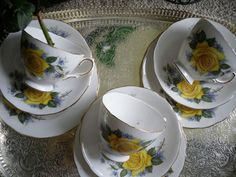 vinatge bone china tea cups saucers and side plate trio tea set lot yellow roses