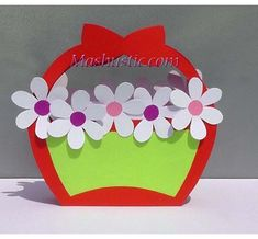 Home Decor paper flowers craft Easy Paper Flower Basket Mashustic How To Make Paper Flowers, Paper Flowers Craft, Giant Paper Flowers, Diy Flowers, Paper Crafts, 3d Paper, Flower Diy, Free Paper, Flower Making Crafts