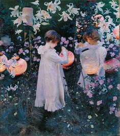 The Edwardian artist John Singer Sargent spent much time painting outdoors in the English countryside, frequently utilizing floral symbolism. Sargent's first major success came in 1887, with 'Carnation Lily Lily Rose', a large piece painted on site in the plein air manner, of two young girls lighting lanterns in an English garden.