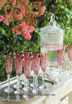 Pink Crystal Champagne Flutes - Drink Dispenser & Vintage Silver Trays