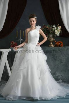 Aliexpress.com : Buy Custom A line One Shoulder Court Train Organza with Flowers Wedding Dresses from Reliable organza wedding dress suppliers on HONEYSTORE CO., LIMITED $378.08