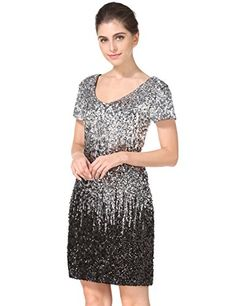 cf6c8ec8ce MANER Women s Sequin Glitter Short Sleeve Gowns Sexy V Ne... https