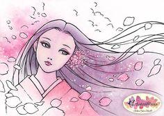 Digital Stamp  Sakura Fubuki Cherry Petal Storm  by AuroraWings