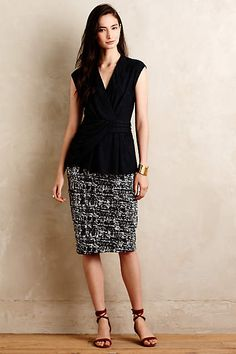 Marled Jacquard Pencil Skirt - anthropologie.com