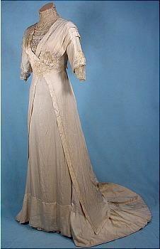 c. 1912 Ecru Silk Wedding Gown #3539