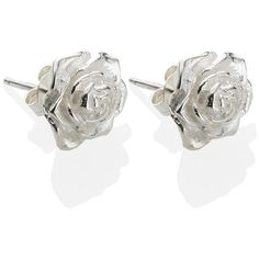 DOWER & HALL White Rose Earrings found on Polyvore