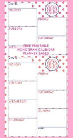 """Free Printable Monogram Weekly Calendar Planner Pages.... ....Follow for Free """"too-neat-not-to-keep"""" teaching tools & other fun stuff :)"""