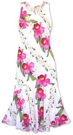 orchid play white lehua hawaiian dress @Lavahut