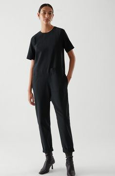 Jumpsuit With Sleeves, Black Jumpsuit, Cos Shorts, Overall, Latest Dress, Organic Cotton, Women Wear, Normcore, Man Shop