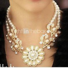 9d21eac97931 Mujer Perla Collares Declaración   Collar de alimentación - Perla Flor  Importante