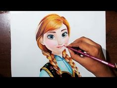 Drawing Anna From the movie 'Frozen' - Prismacolor colored pencils. - YouTube