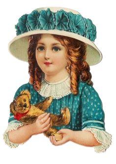 ♥ Antique Scrap..Girl Holding Her Teddy Bear.